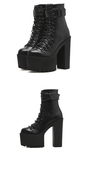 Platform High Heel Lace Up Ankle Boots Goth Punk Style
