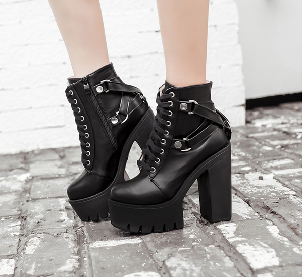 Platform High Heel Lace Up Punk Goth Ankle Boots