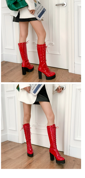 Platform High Heel Knee High Lace Up Boots