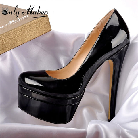 Onlymaker Round Toe Super High Heel Multi Platform Stiletto Pump