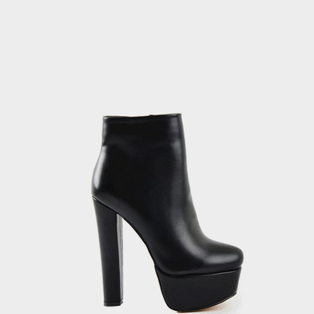 Onlymaker Chunky High Heel Platform Boots Round Toe