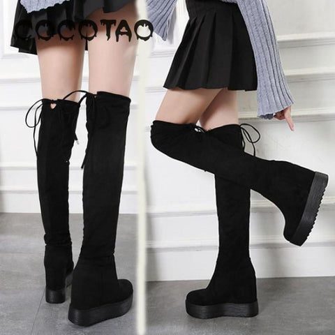 Platform Over The Knee Wedge Boots