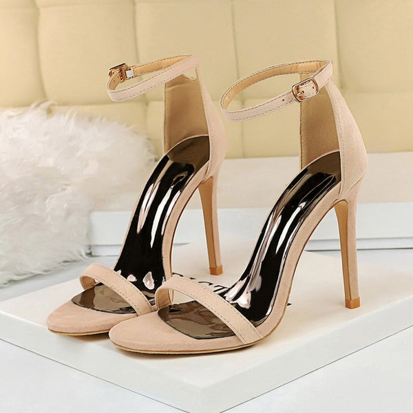 Single Sole Stiletto Heel Ankle Strap Sandals