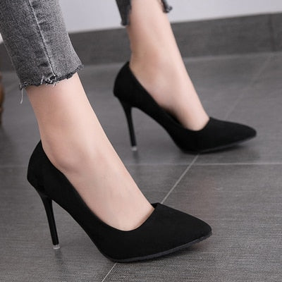Simple Elegant High Heels Stiletto Shoes Pointed Toe