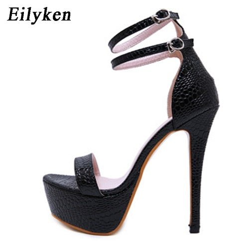 Eilyken Platform Double Ankle Strap Sandals with High Stiletto Heels