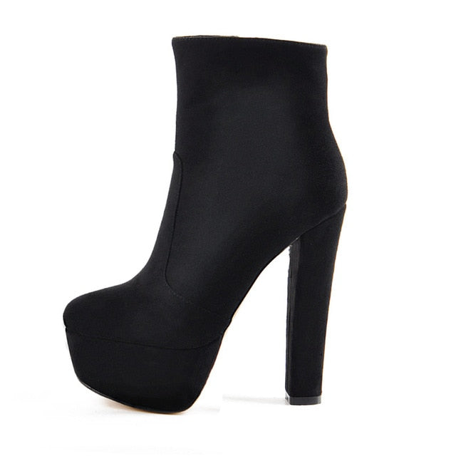 Onlymaker Platform Round Toe Ankle Boots Thick High Heel Side Zip