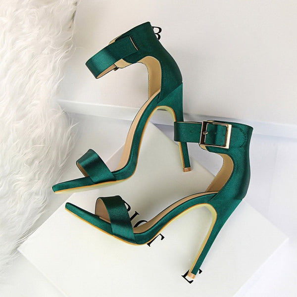 Plus Size 43 Women Classic Satin 11cm High Heels Fetish Silk Sandals Female Gladiator Summer Cheap Shoes Lady Green Sexy Pumps