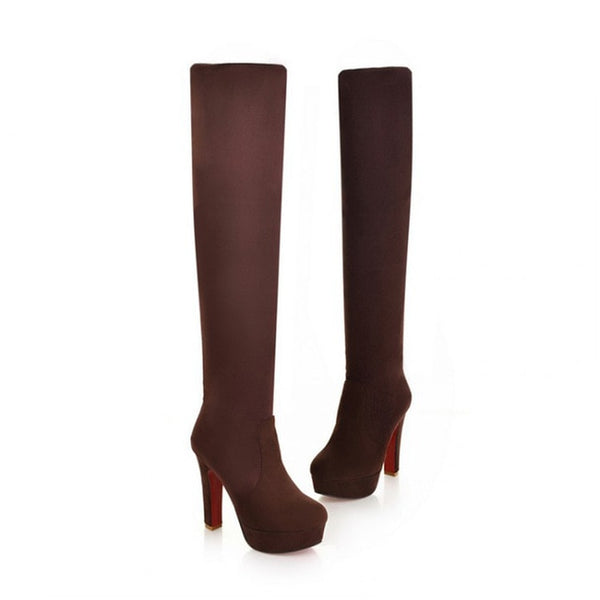 Women Boots Super High Heels Slip On Over The Knee Sexy Long Boots Female Platform Stretch Patchwork Flock Two Ways Wear
