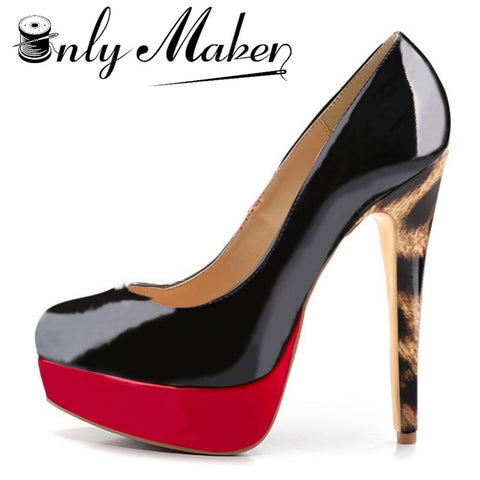 Onlymaker Colorful Round Toe Platform High Heel Stilettos Pumps