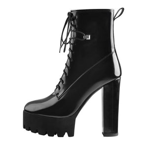 Onlymaker Round Toe Patent Leather Chunky High Heels Platform Ankle Boots