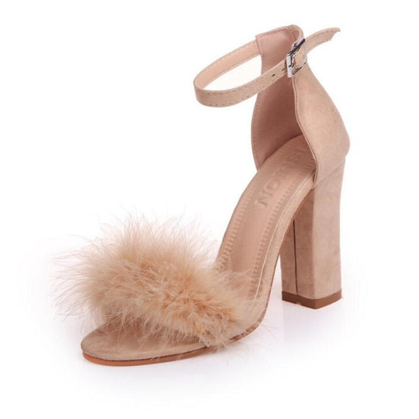BigTree Single Sole High Chunky Heel Sandals with Ankle Straps