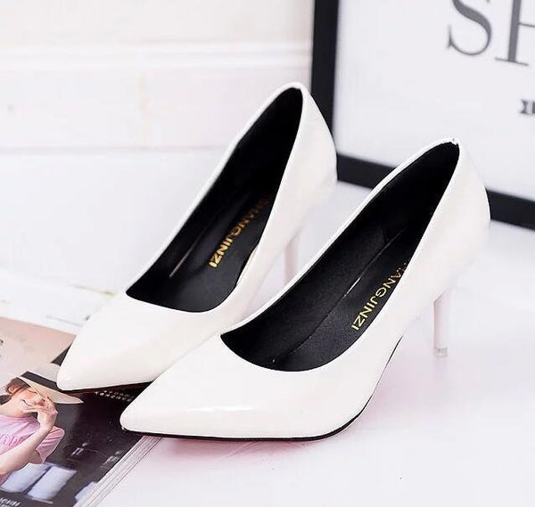 Pointed Toe Pumps Patent Leather Dress Shoes with 8CM High Heels