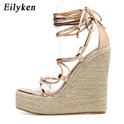 Eilyken Platform Wedge High Heel Sandals with Straps that Tie Around Leg