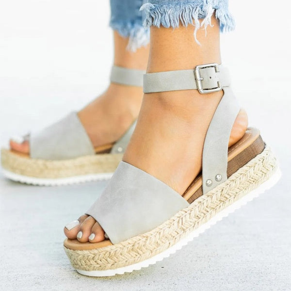 Platform Flat Sandals with Ankle Straps