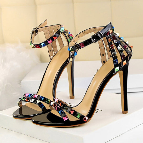 Single Sole Strappy Sandals with High Stiletto Heels and Colored Studs