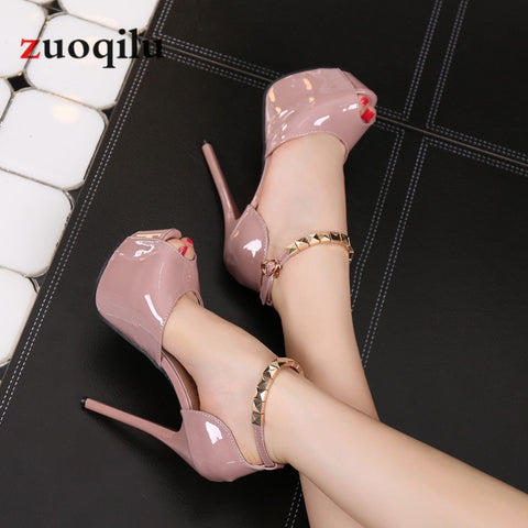 Peep Toe Platform High Heel Pumps with 14 CM heels