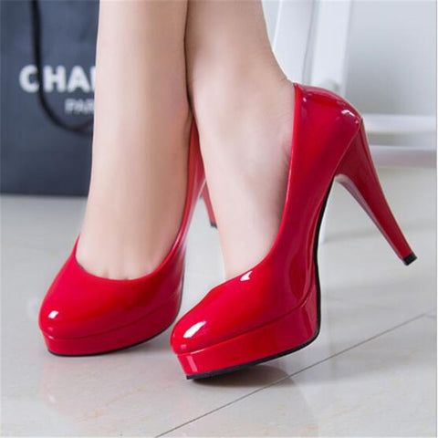 Patent Leather High Heel Platform Pumps