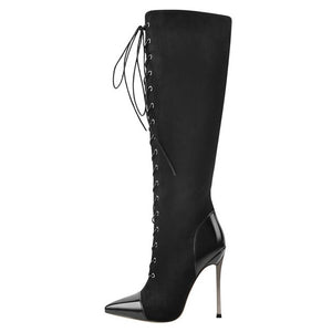 Onlymaker Women's Side Zip Pointed Toe 12CM Metal High Heel Sexy Black Over The Knee Lace-Up Flock Stiletto High boots