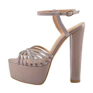 Onlymaker Women Platform Chuncky Heel Ankle  Buckle Strap Sandals Open Toe Cross Thick Band Shoes Big Size US5~US15