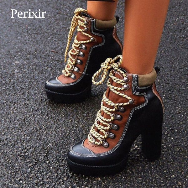 Perixir Spring Autumn Fashion Platform Ankle Boots Women 12cm Thick Heel Platform Boots Ladies Worker Boots Black Brown Shoes
