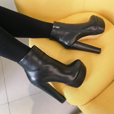 Onlymaker High Heel Platform Ankle Boots with Chunky Heels
