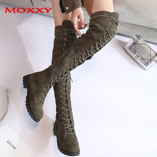 Sexy Ladies Lace Up Over The Knee Boots