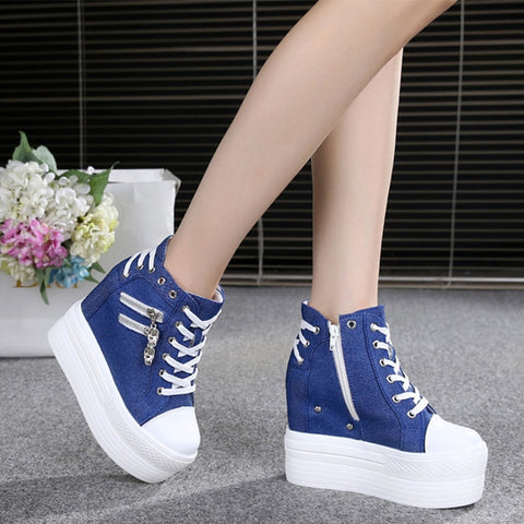 Denim Platform Sneaker Wedges