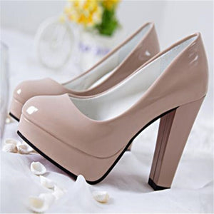 Round Toe Pumps with High Thick Heels
