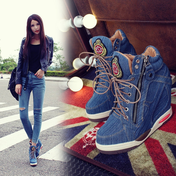 Autumn 2020 casual denim lace sneaker wedges for women