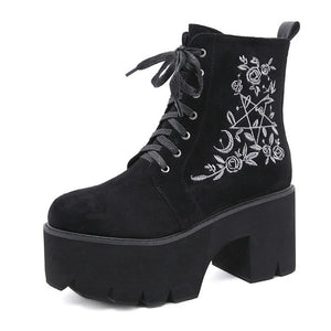 Platform Lace Up Ankle Boots with Embroidery