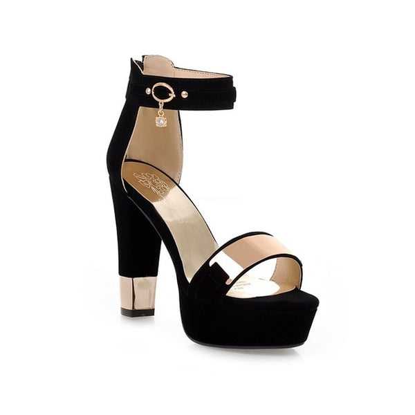 Platform Sandals with Thick High Heels with Gold Trim