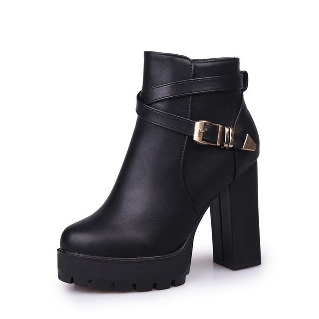 Stylish Leather Short Boots Women High Heel Winter Sexy Ankle Boot 2020 Lady Wedding Party Club Shoes Crystal Buckle Strap 35-40