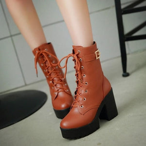 Spring Autumn Fashion Women Boots High Heels Platform Buckle Lace Up Leather Short Booties Black Ladies Shoes Promotion 745