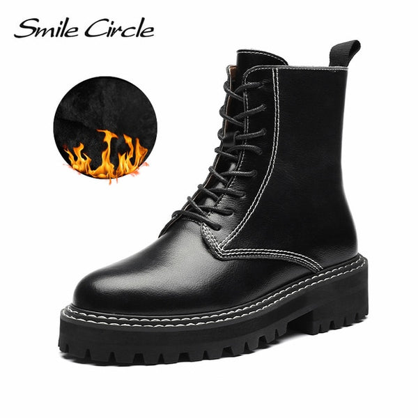 Smile Circle Ankle Boots Women Flats Platform shoes Fashion Round toe Comfortable Casual Short Boots Ladies