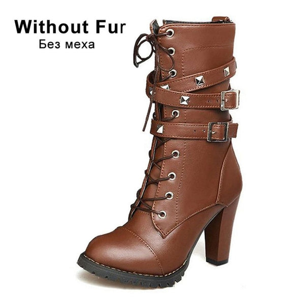 TAOFFEN Ladies shoes Women boots High heels Platform Buckle Zipper Rivets Sapatos femininos Leather boots Size 34-48