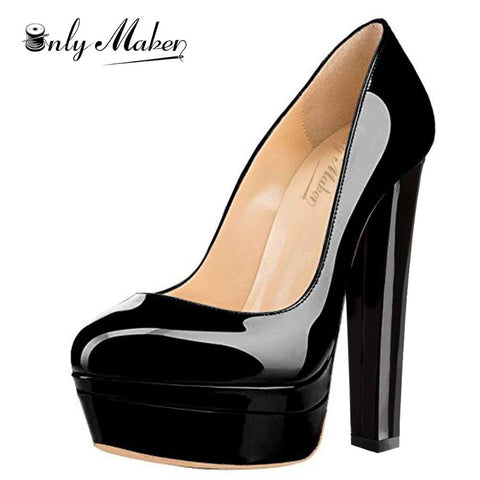 Onlymaker Round Toe Double Platform High Heel Pumps with Chunky Heels