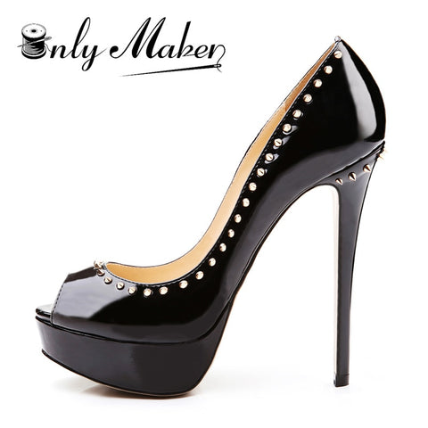 onlymaker Fancy High Heels Peep Toe Platform Pumps with Stiletto Heels