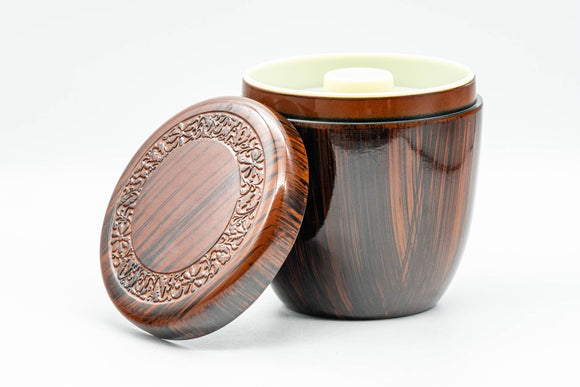 Japanese Chazutsu - Plastic Wood-Patterned Tea Canister - 250ml