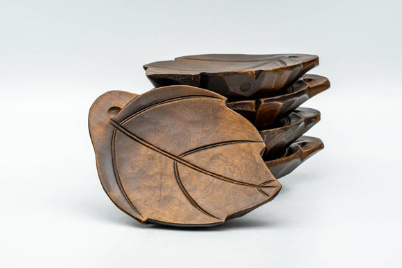 Japanese Chataku - Set of 5 Leaf-shaped Wooden Tea Saucers