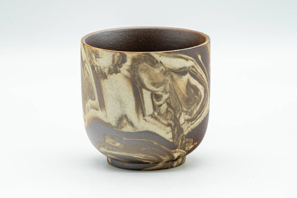 Japanese Teacup - Beige Brown Marbled Yunomi - 110ml