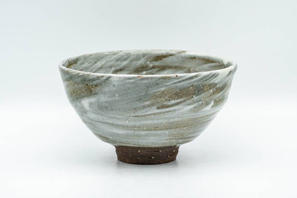 Japanese Matcha Bowl - Grey Hakeme Brush Glazed Ido-gata Chawan - 300ml