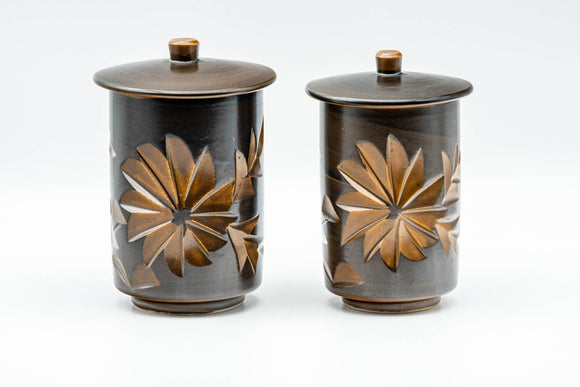 Japanese Teacups - Pair of Brown Floral Tsutsu-gata Lidded Meoto Yunomi