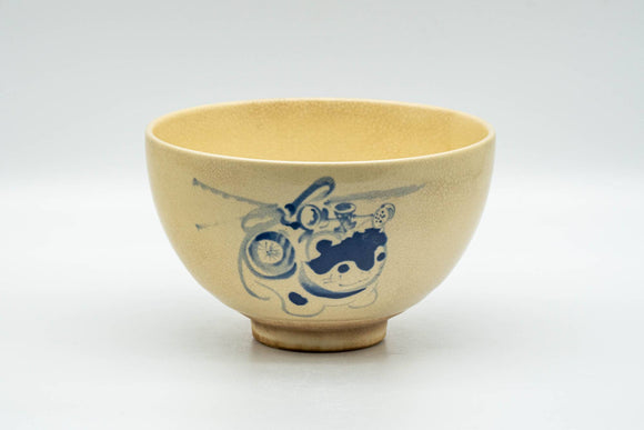Japanese Matcha Bowl - Beige Blue Cat Kyo-yaki Chawan - 350ml