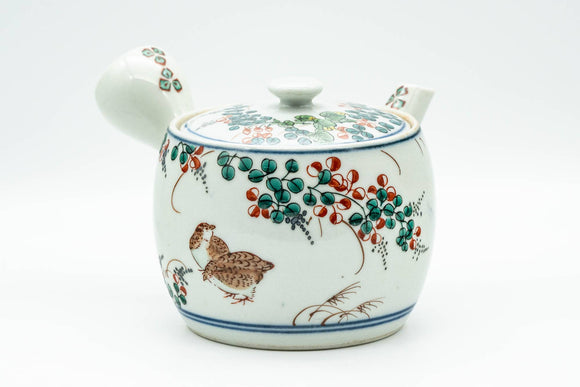 Japanese Kyusu - Birds and Flowers Arita-yaki Debeso Teapot - 360ml