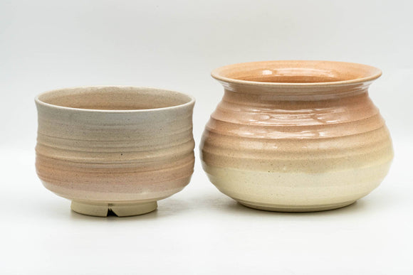 Japanese Tea Ceremony Set - Beige Pink Glazed Groovy Kyo-yaki Chawan and Kensui