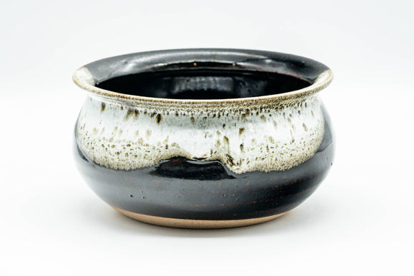 Japanese Kensui - Black White Drip-Glazed Water Bowl - 500ml