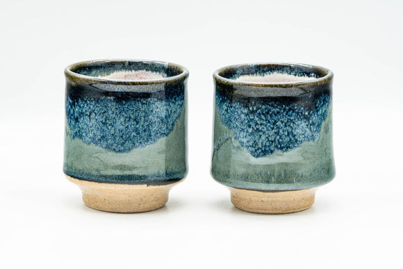 Japanese Teacups - Pair of Hare's Fur Blue and Green Yunomi - 140ml
