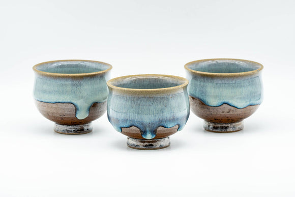 Japanese Teacups - Set of 3 Blue Turquoise Drip-Glazed Yunomi - 90ml