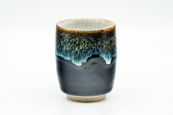 Japanese Teacup - Jet Black Blue Hare's Fur Drip-Glazed Yunomi - 150ml