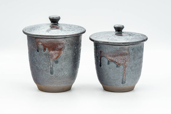 Japanese Teacups - Pair of Tenmoku Drip-Glazed Lidded Meoto Yunomi